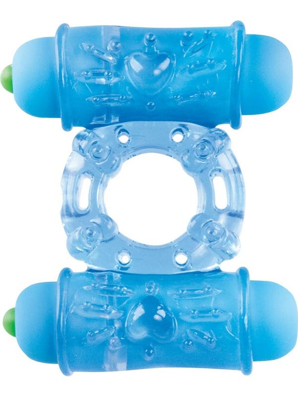 Shots Toys: Double Vibrating Ring, blå