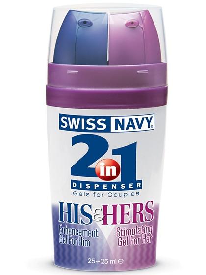 Swiss Navy 2 in 1: His & Hers, Gel för Par, 25 + 25 ml