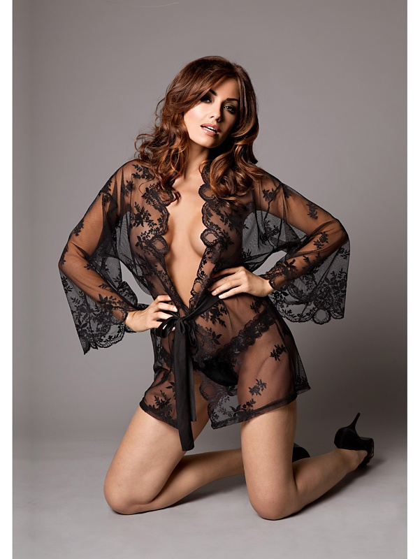 KissMe: Grace in Lace, Kimono & Thong Set, svart
