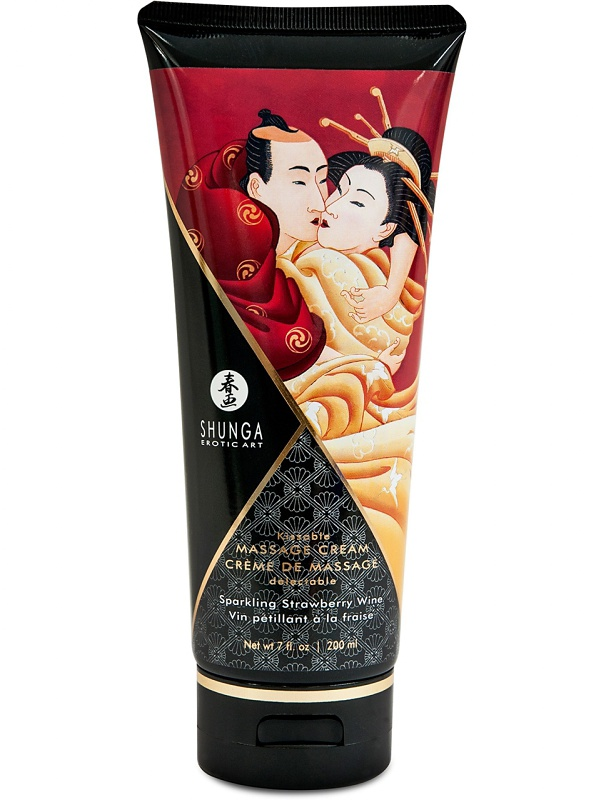 Shunga: Massage Cream, Sparkling Strawberry Wine, 200 ml