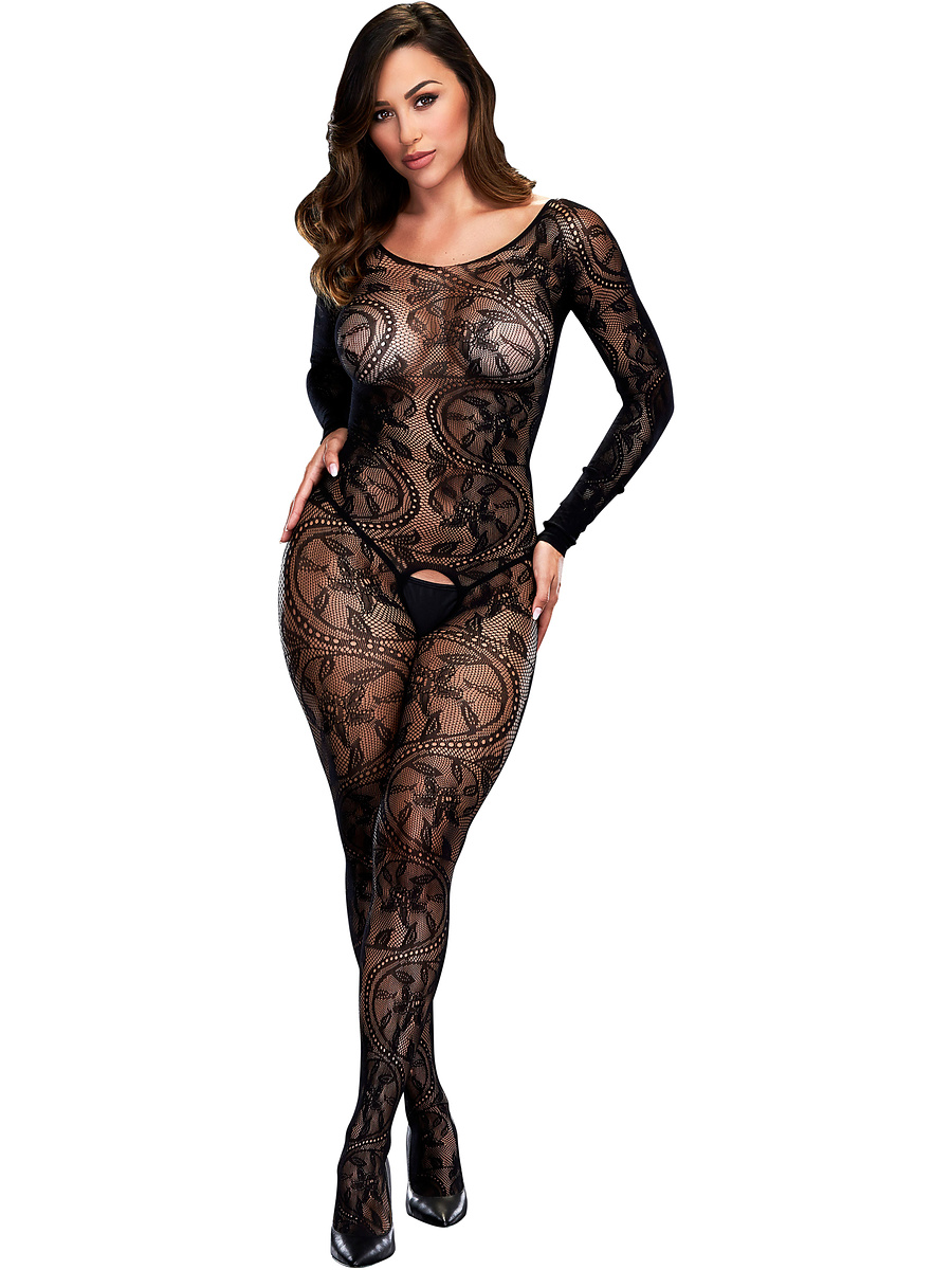 Baci: Longsleeve Crotchless Bodystocking, One Size | Catsuits | Intimast.se - Sexleksaker