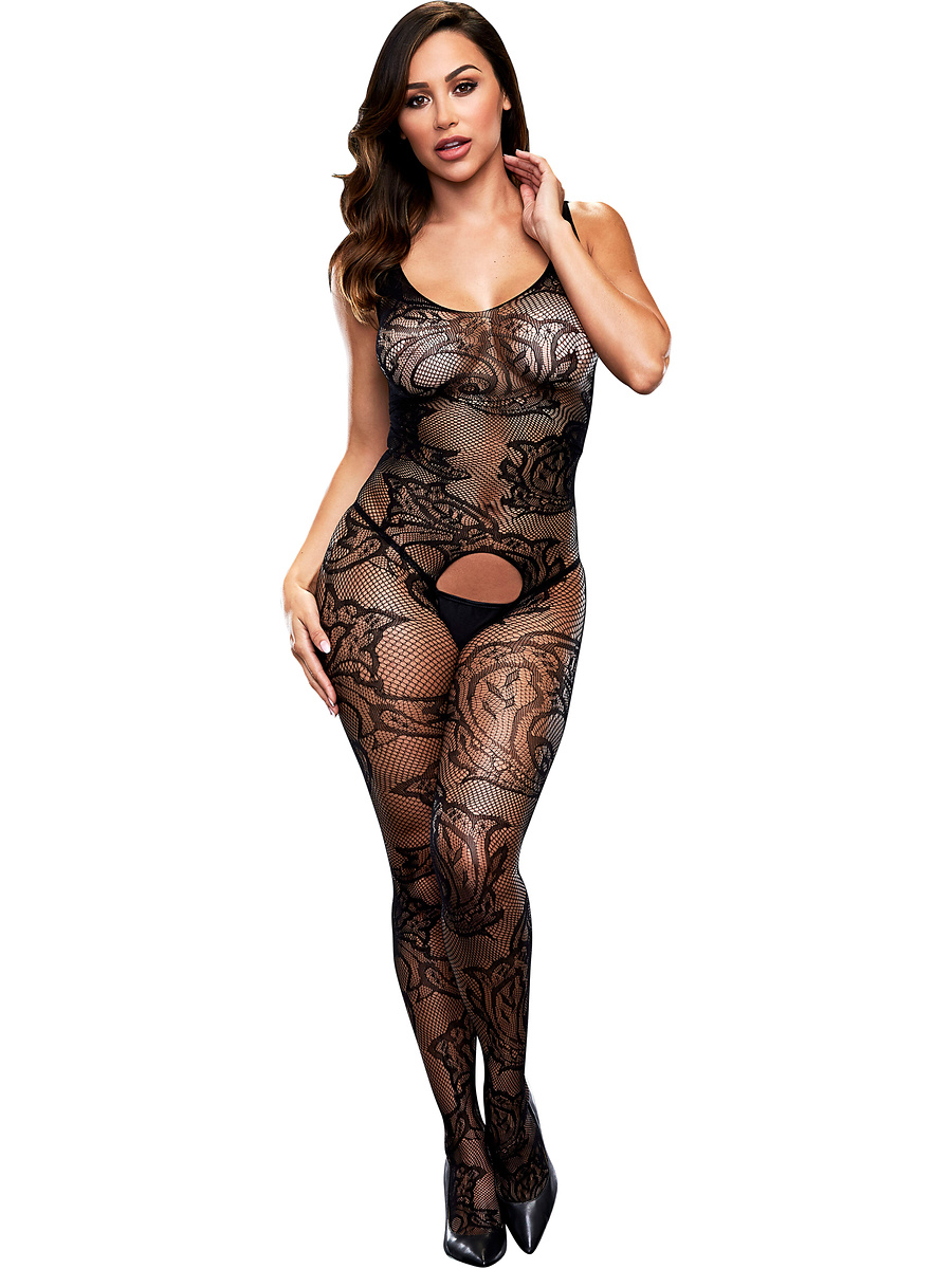 Baci: Crotchless Jacquard Bodystocking, One Size | Catsuits | Intimast.se - Sexleksaker