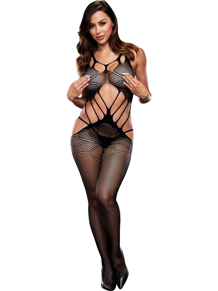 Baci: Criss Cross Crotchless Bodystocking, One Size | Catsuits | Intimast.se - Sexleksaker