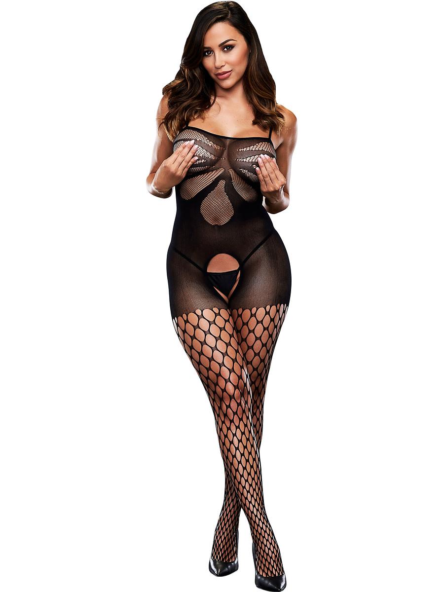 Baci: Crotchless Jacquard Bodystocking, One Size | Catsuits | Intimast.se - Sexleksaker