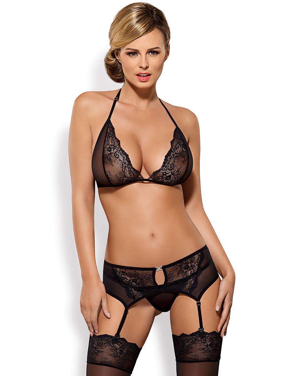 Obsessive: Merossa, Bra, Garter Belt, Thong, svart | Stay-ups | Intimast.se - Sexleksaker