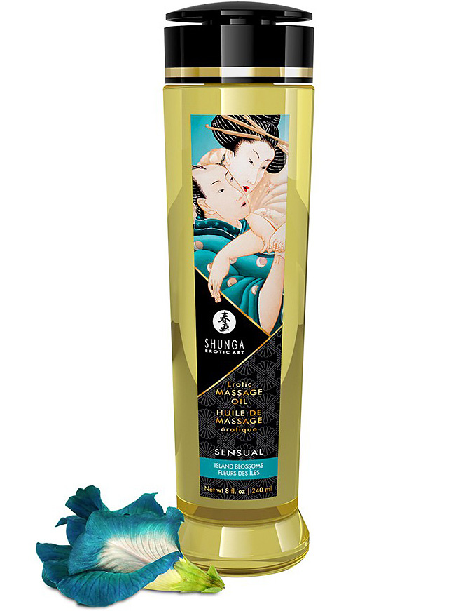 Shunga: Erotic Massage Oil, Sensual Island Blossoms, 240 ml