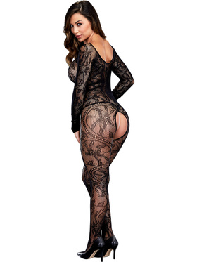Baci: Longsleeve Crotchless Bodystocking, One Size