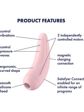 Satisfyer Connect: Curvy 2+, Air Pulse Stimulator + Vibration, rosa