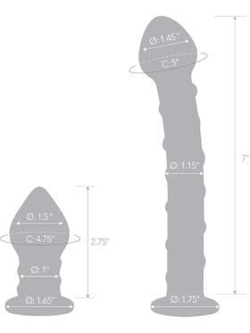 Gläs: 2pc Double Penetration, Glass Dildo & Plug Set