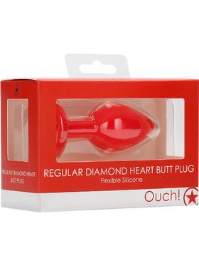 Ouch!: Regular Diamond Heart Butt Plug, röd